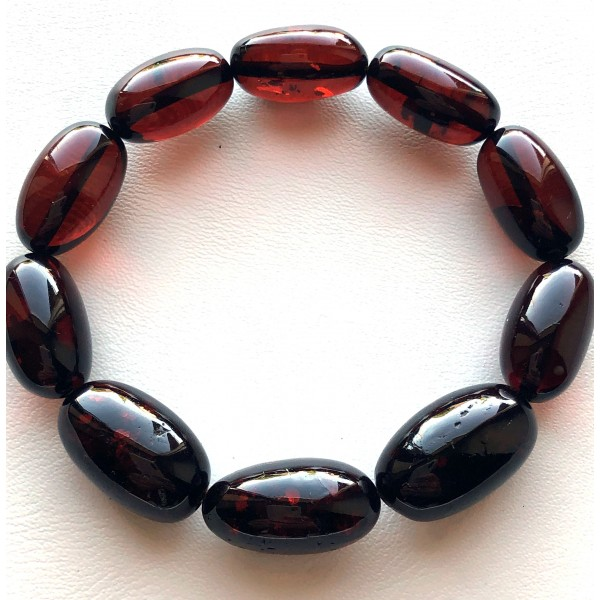 Amber bracelets | Olive Shape Beads Genuine Baltic Amber Bracelet
