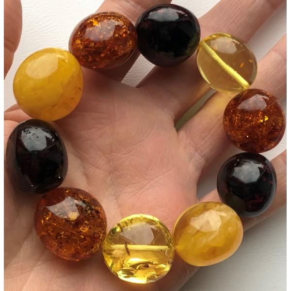 AMBER BRACELET Natural Baltic Amber Big Beads-AB3036