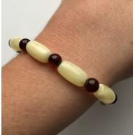 Barrel shape yellow amber bracelet
