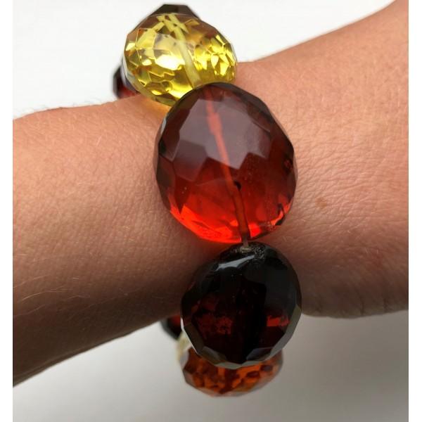Big beads faceted amber bracelet -