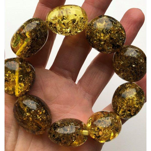 Big beads green amber bracelet-AB3013