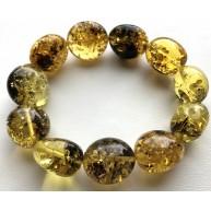 Big beads green amber bracelet