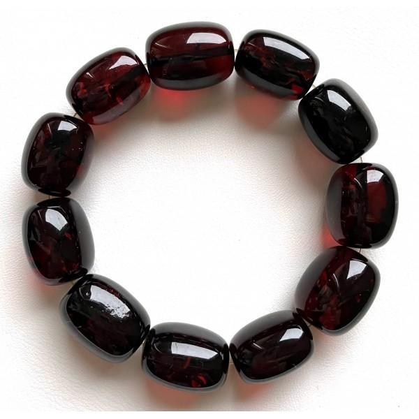 Big cherry barrel shape Baltic amber bracelet 34g -