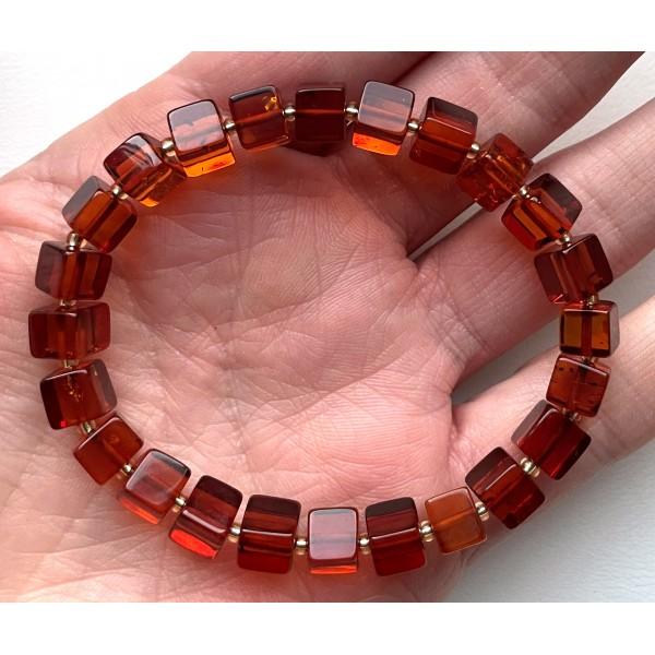 Cognac Baltic amber bracelet cubes -