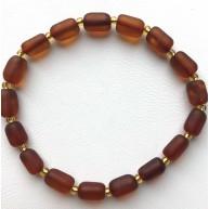 Cognac Baltic amber elastic bracelet-AB3054
