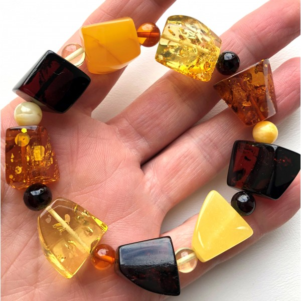 Faceted beads Baltic amber bracelet -