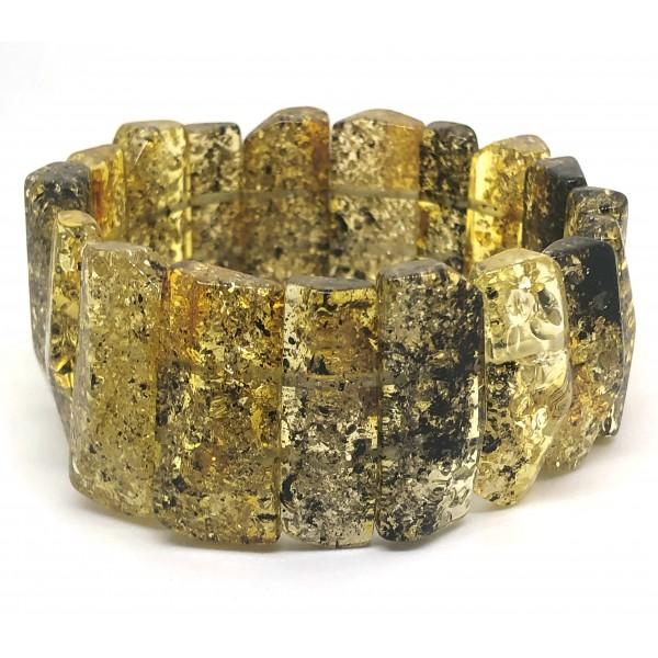 Faceted green color amber bracelet-AB3023