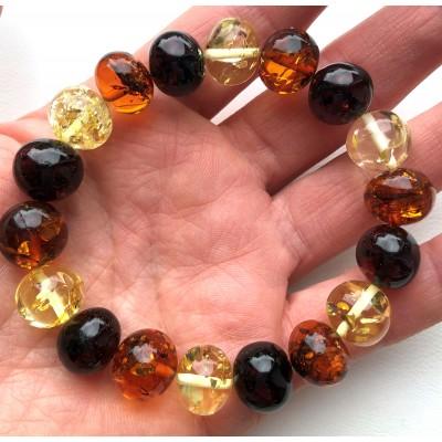 Genuine BALTIC AMBER Baroque Shape Beads Stretch Bracelet