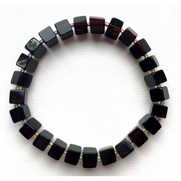Genuine Natural Cherry Stretch Amber Bracelet Cubes -