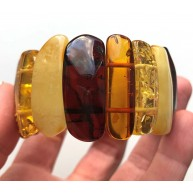 Glittering Pieces Genuine BALTIC AMBER Stretch Bracelet  35g