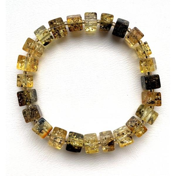 Green amber bracelet cubes -