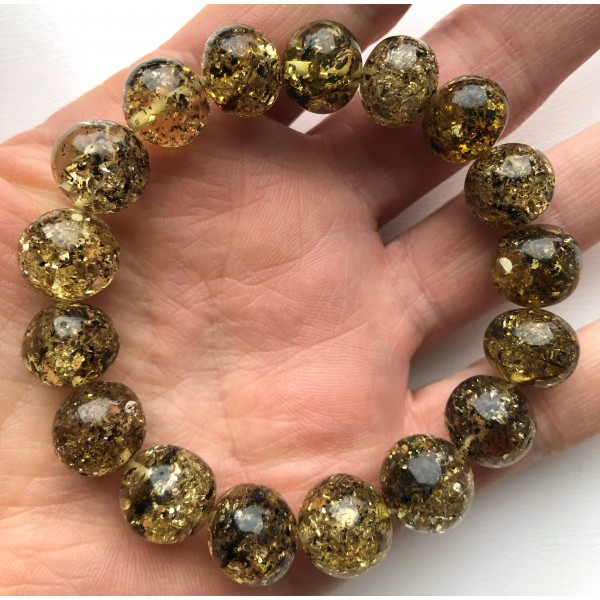 Green baroque beads Baltic amber bracelet-AB3029