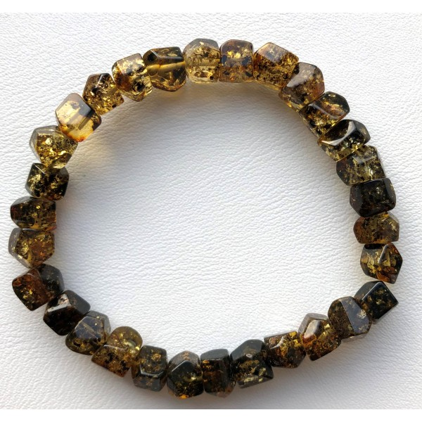 Green colour faceted Baltic amber bracelet -