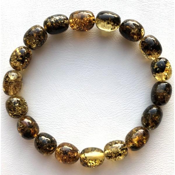 Green olive shape Baltic amber bracelet-AB3048