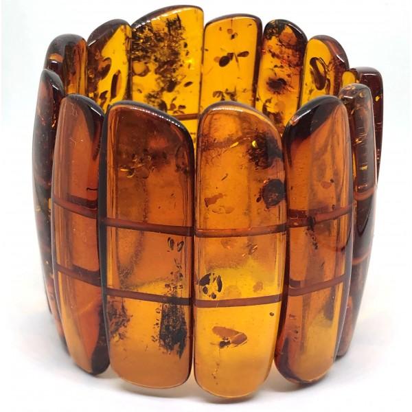 Large Glittering Pieces Genuine BALTIC AMBER Stretch Bracelet 80 g-AB3031