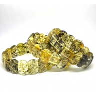 Lot of 3 green color Baltic amber bracelets