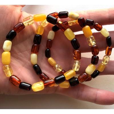 Lot of 3 multicolor barrel shape Baltic amber bracelets-AB3047