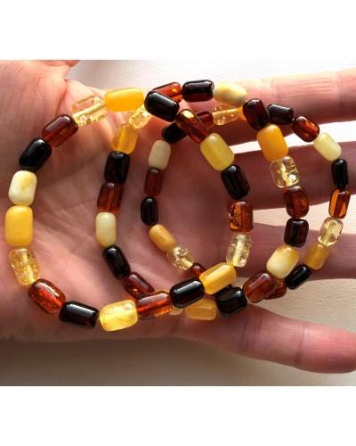 Lot of 3 multicolor barrel shape Baltic amber bracelets