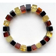Multi-Color Amber Cube Beads Stretch Bracelet