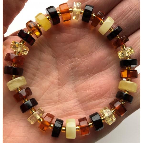 Multicolor Baltic amber elastic bracelet-AB3019
