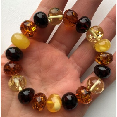 Multicolor baroque beads amber bracelet-AB3010