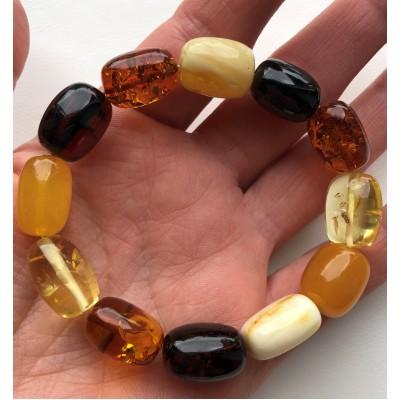 Multicolor barrel shape  amber bracelet