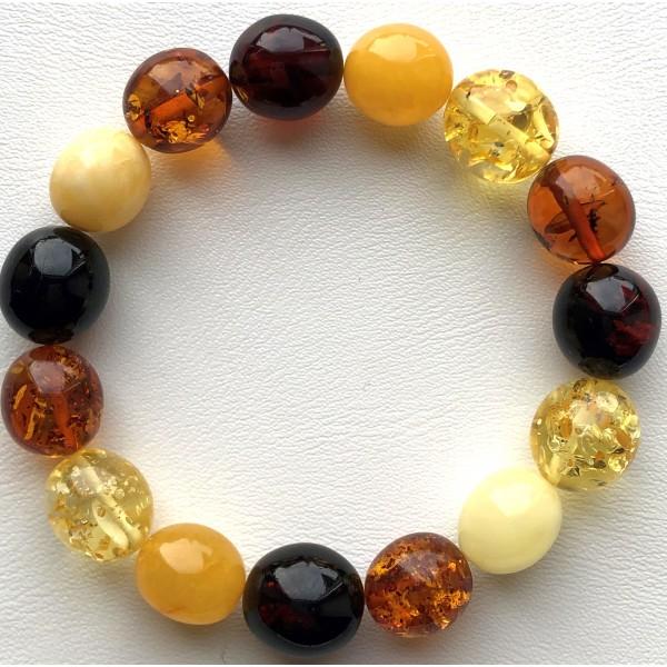 Multicolor olive shape Baltic amber bracelet 16g -