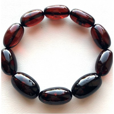 Olive Shape Beads Genuine Baltic Amber Bracelet-AB3050