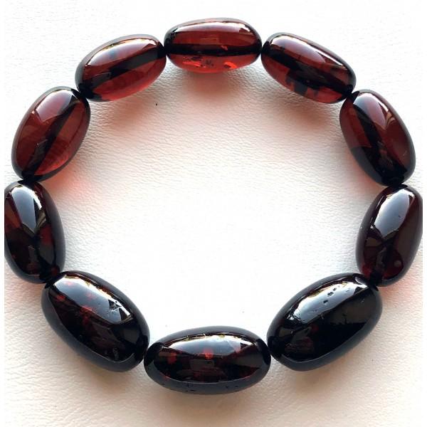 Olive Shape Beads Genuine Baltic Amber Bracelet-AB3050