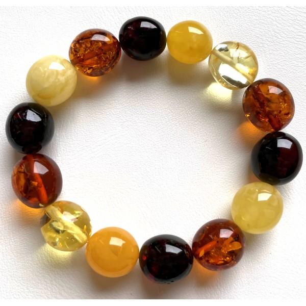 Olive Shape Beads Genuine Baltic Amber Stretch Bracelet 18g -