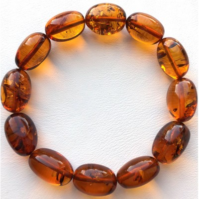 Olive Shape Beads Genuine Baltic Amber Stretch Bracelet-AB3038