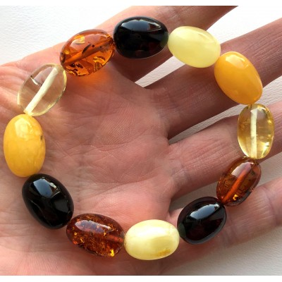 Olive Shape Beads Genuine Baltic Amber Stretch Bracelet-AB3039