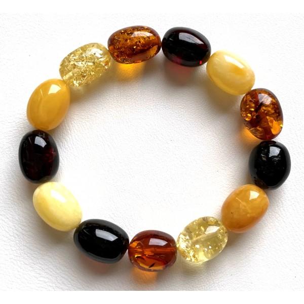Olive Shape Beads Genuine Baltic Amber Stretch Bracelet -