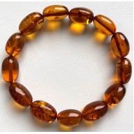 Olive Shape Beads Genuine Baltic Amber Stretch Bracelet