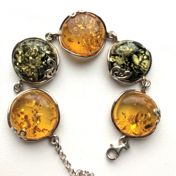 Silver bracelet with Baltic amber -AB3017
