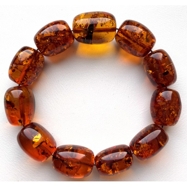 AMBER BRACELET Cognac Baltic Amber Big Beads 32.4 g -