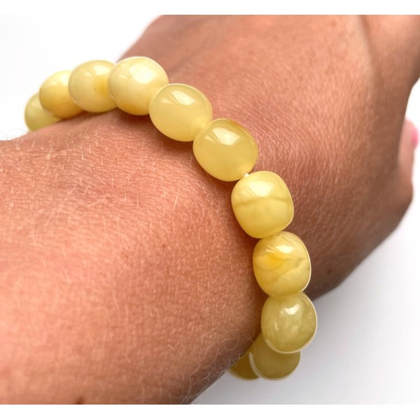 Amber Olive Shape Beads Genuine Bracelet 10 g. -