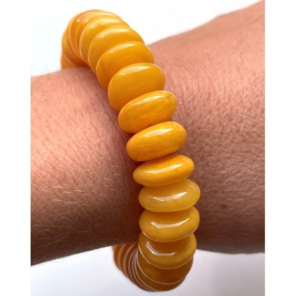 Antique color Baltic amber elastic bracelet 19 g -