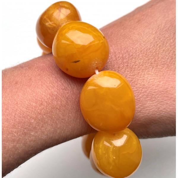Big beads antique color amber bracelet 51g -