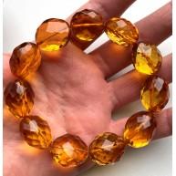 Big beads faceted amber bracelet 26 g