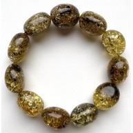 Big Beads Green Baltic Amber Bracelet 26 g.