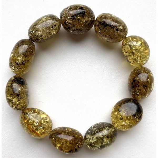 Big Beads Green Baltic Amber Bracelet 26 g. -