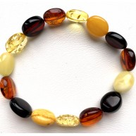 Button shape multicolor Baltic amber bracelet