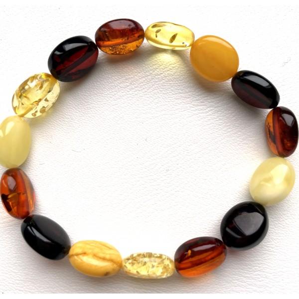 Button shape multicolor Baltic amber bracelet -