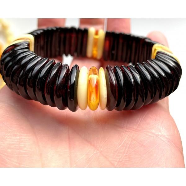 Cherry Color Amber Stretch Bracelet -