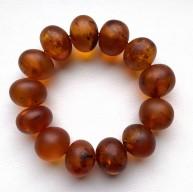 Cognac Amber Baroque Beads Stretch Bracelet 47 g.