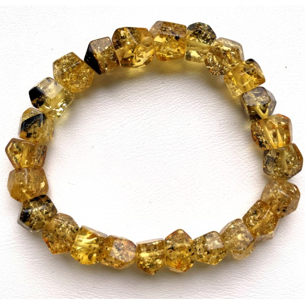 Faceted beads green Baltic amber bracelet 11 g. -