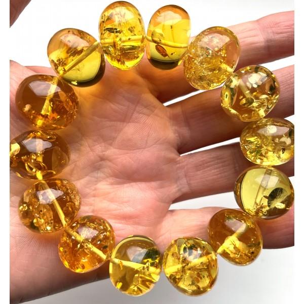 Genuine BALTIC AMBER Baroque Shape Beads Stretch Bracelet 48 g -