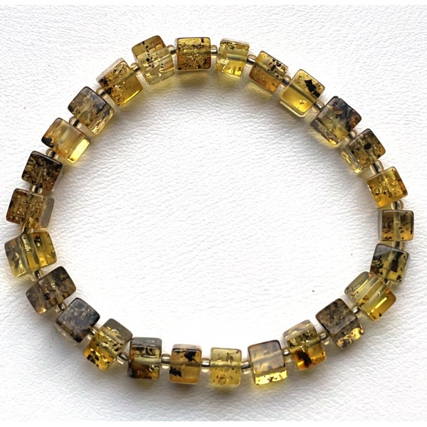 Genuine Natural Stretch Amber Bracelet Cubes -