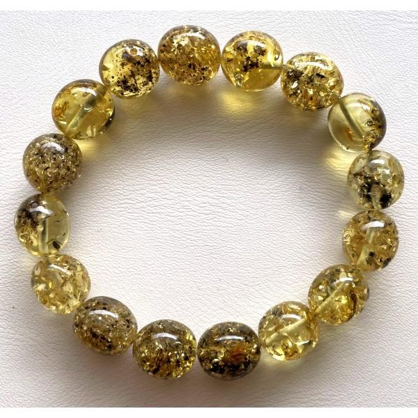 Green Baltic amber olive shape bracelet 15 g -